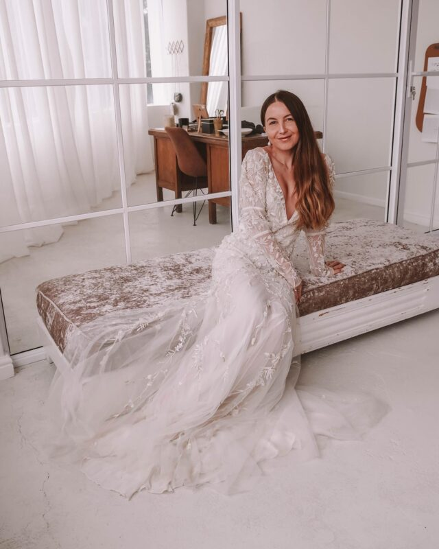 """…""""This is THAT moment isn't it, you know when you walk in and find THAT dress"""" ✨🥺 ~ me swooning over every last detail @boandluca have created in their bridal studio.  #MeetingTurnedPhotoshoot + a #bts reel loading for tomorrow morning! _  #theprettyblog #handmade #sustainablefashion #bridalgowns#bridalgoals#bridaldress#modernbride"""